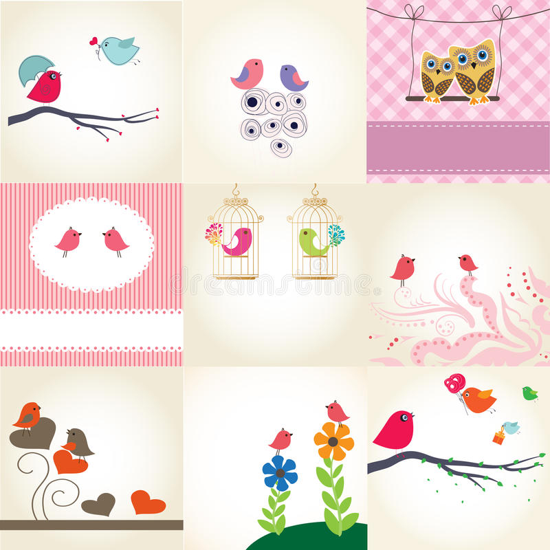 Free Set Of 9 Valentines Cards With Cute Birds Stock Image - 18301301