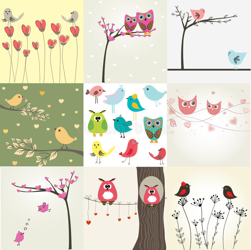 Free Set Of 9 Valentines Cards With Cute Birds Royalty Free Stock Image - 18301356