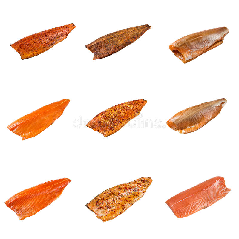 Free Set Of A Different Fillet Salmon Fish Stock Photography - 85874112