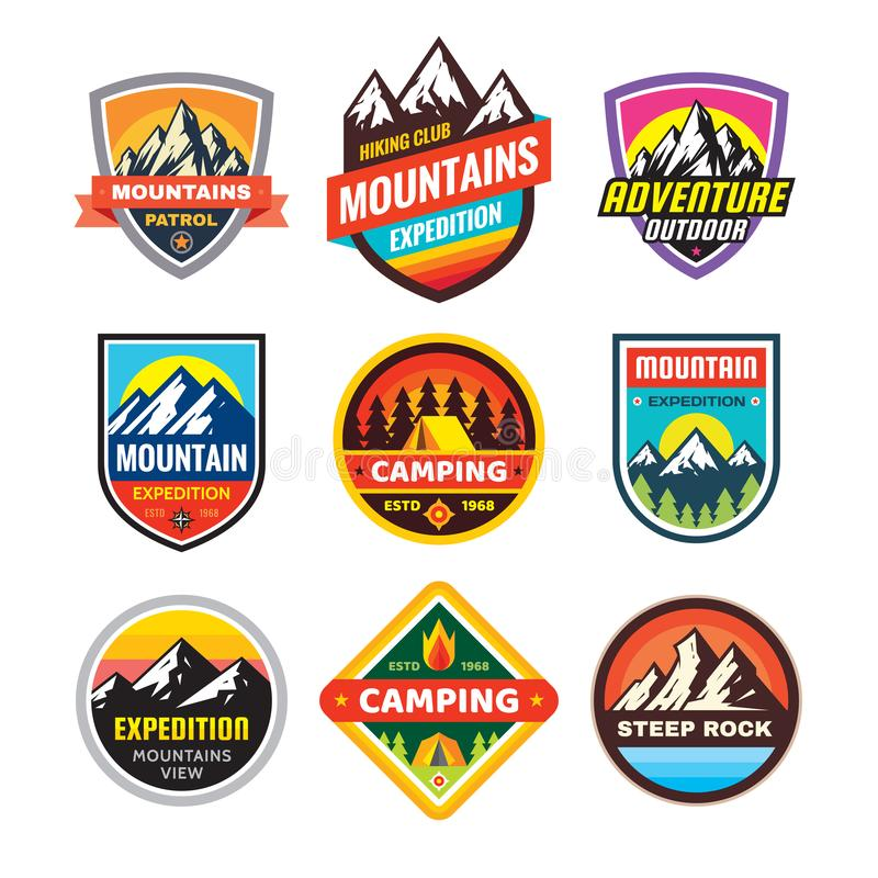 Free Set Of Adventure Outdoor Concept Badges, Summer Camping Emblem, Mountain Climbing Logo In Flat Style. Extreme Exploration Sticker Stock Photos - 143515673