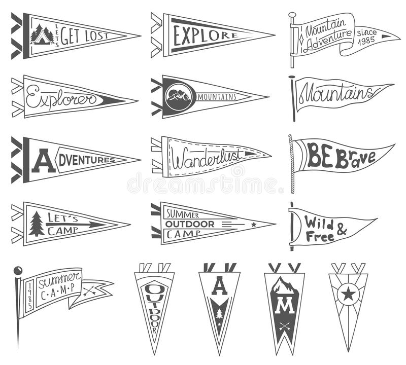 Free Set Of Adventure, Outdoors, Camping Pennants. Retro Monochrome Labels. Hand Drawn Wanderlust Style. Pennant Travel Flags Stock Photo - 107690590
