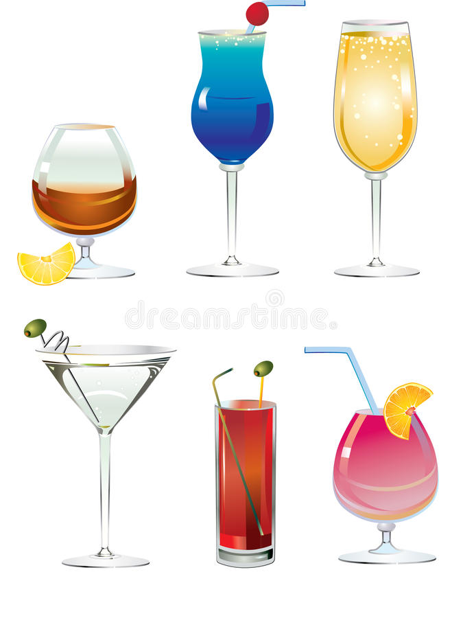 Free Set Of Alcogolik Drinks Royalty Free Stock Image - 18067146
