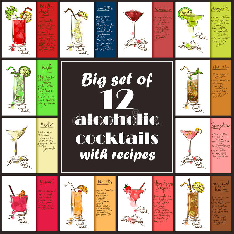 Free Set Of Alcoholic Cocktails With Recipes. Stock Photography - 78520982
