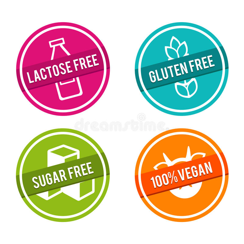 Free Set Of Allergen Free Badges. Lactose Free, Gluten Free, Sugar Free, 100 Vegan. Vector Hand Drawn Signs. Stock Photography - 98289072