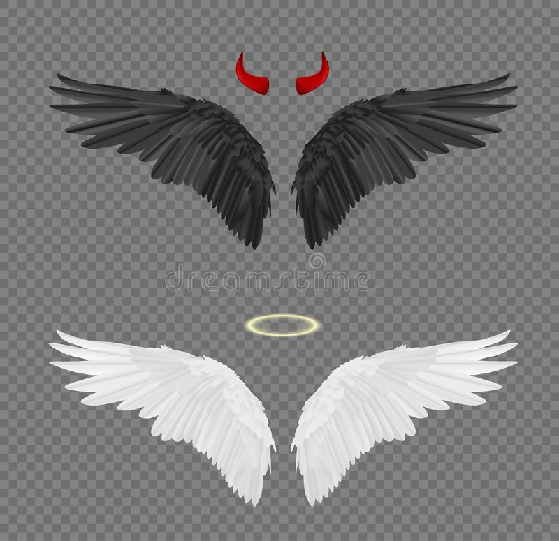 Free Set Of Angel And Devil Realistic Wings, Horns And Halo Isolated Stock Photography - 105333402