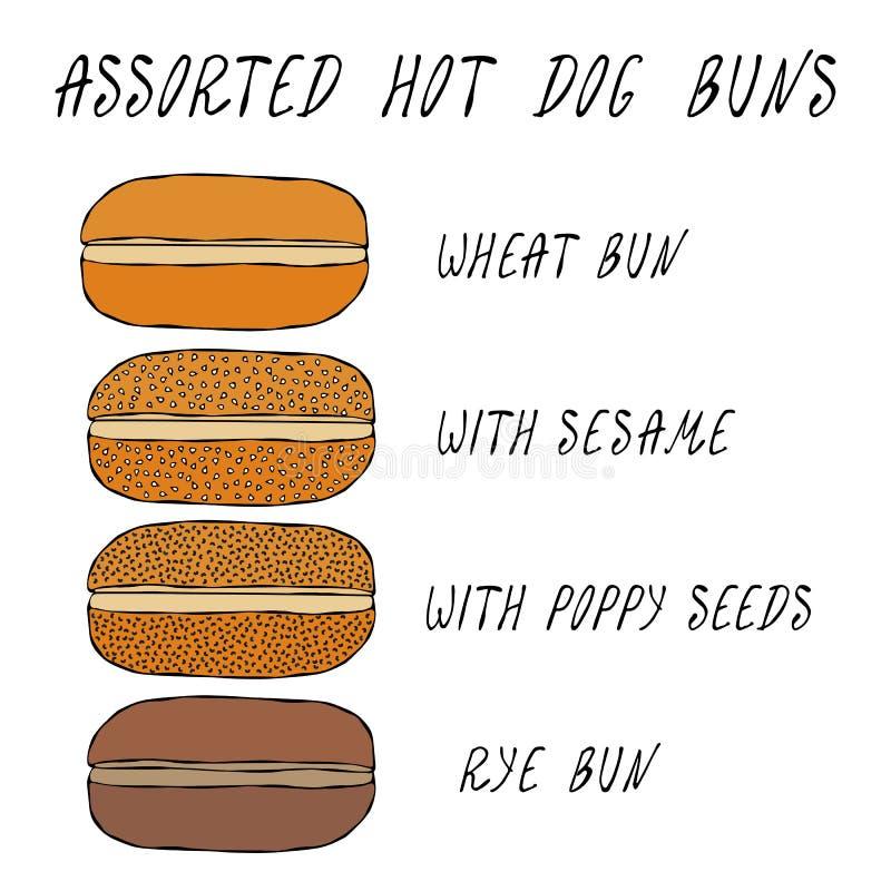 Free Set Of Assorted Hot Dog Buns. Wheat Bun With Sesame, Poppy Seeds, Rye Bun. For Fast Food, Restaurant Or Bar Menu. Hand Royalty Free Stock Photos - 120516398