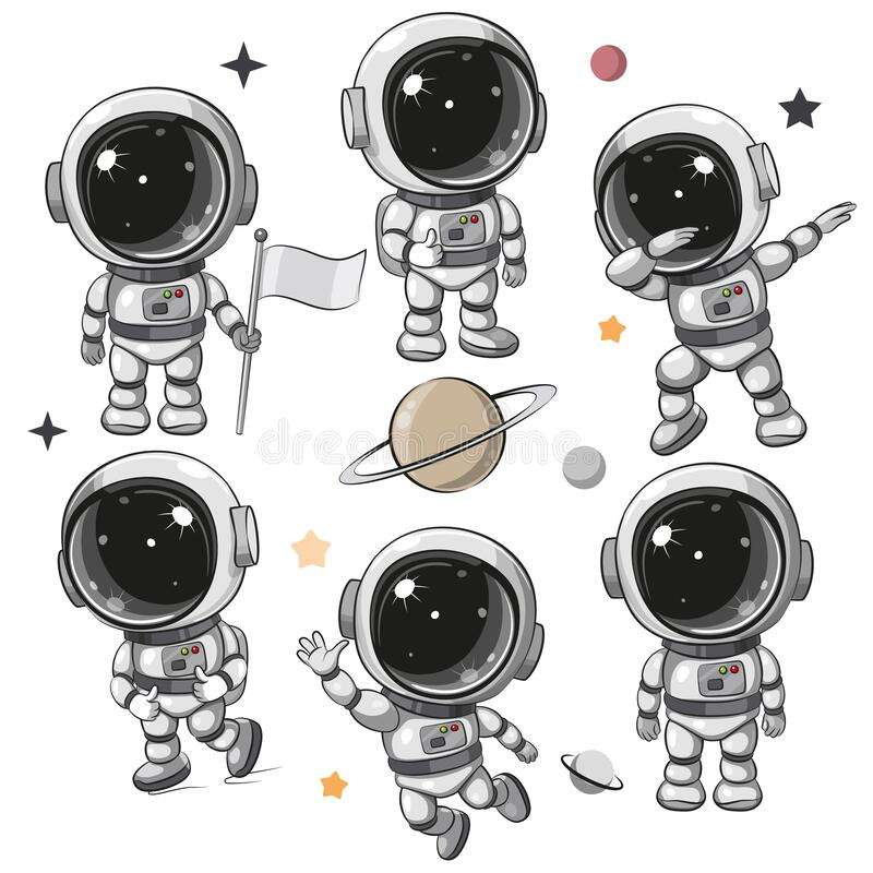 Free Set Of Astronaut Isolated On A White Background Stock Photo - 215000800
