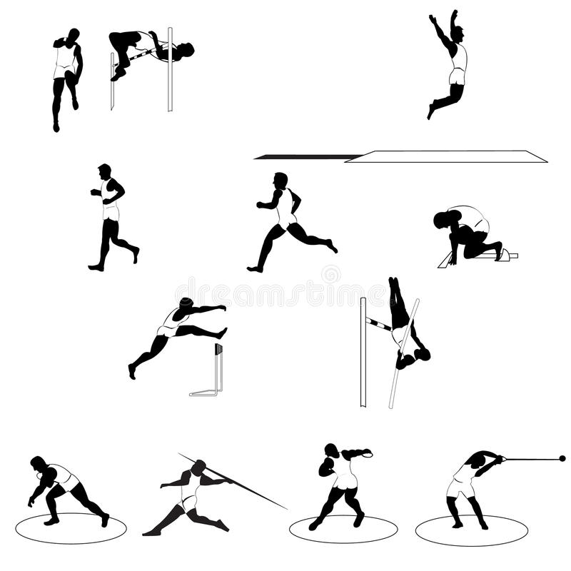 Free Set Of Athletic Silhouettes Track And Field Royalty Free Stock Images - 20630089