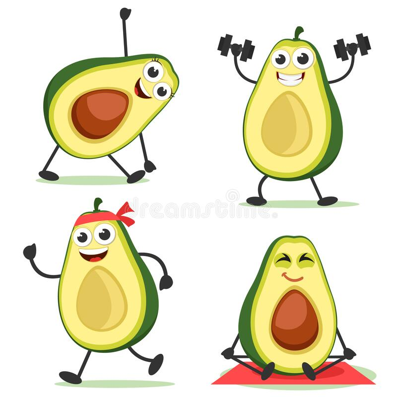 Free Set Of Avocados Goes In For Sports. Avocado Characters Royalty Free Stock Images - 215341969