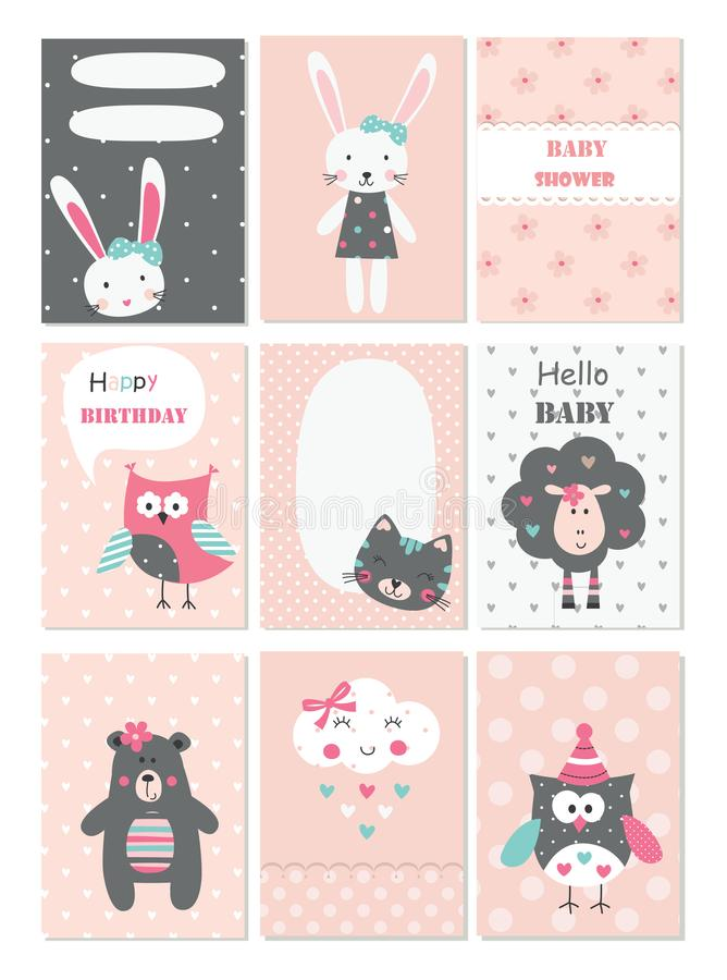 Free Set Of Baby Cards With Cute Animals And Flower Elements Royalty Free Stock Image - 105124656