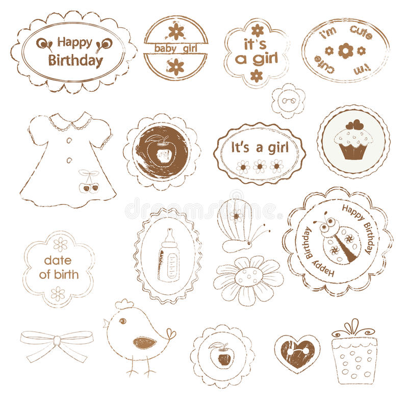 Free Set Of Baby Girl Stamps Royalty Free Stock Photo - 30413625