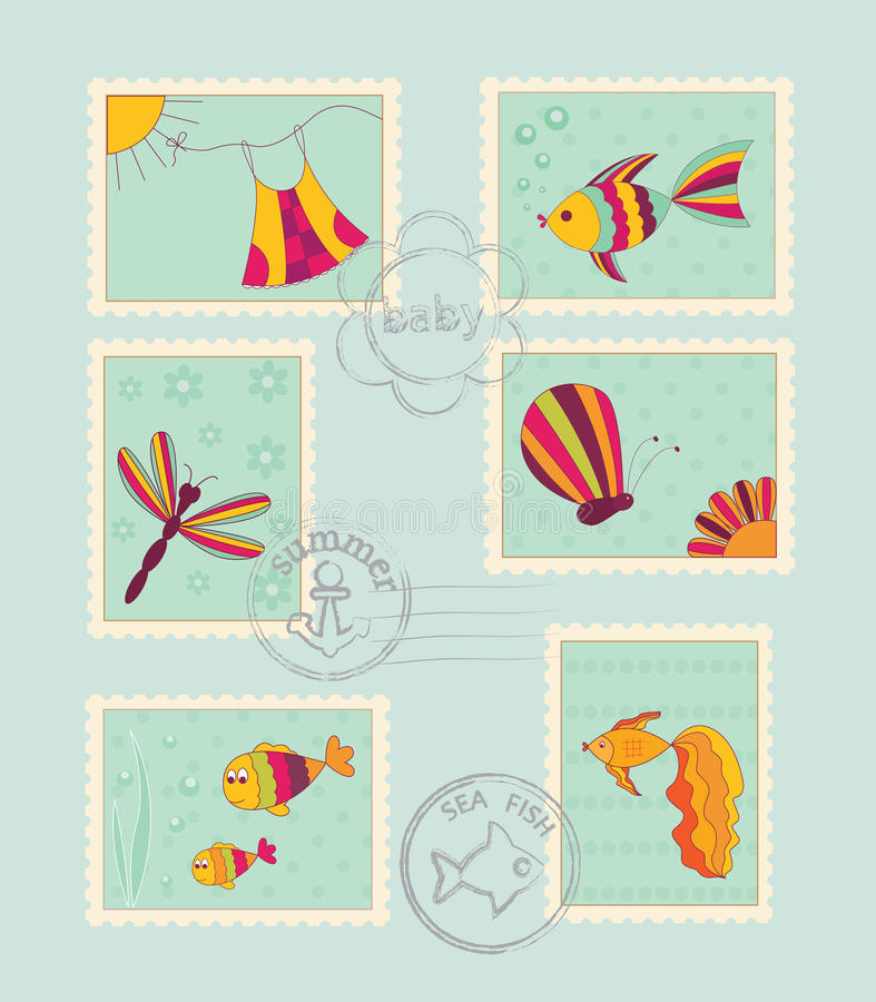 Free Set Of Baby Post Stamps Stock Photo - 29412400