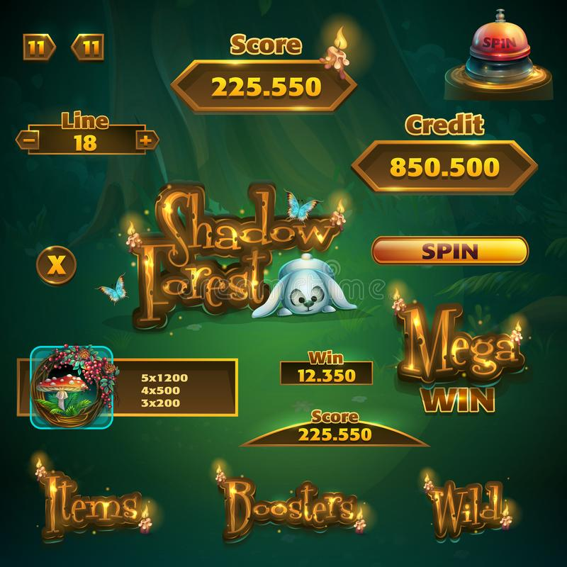 Free Set Of Bar, Buttons, Titles For Shadowy Forest GUI Royalty Free Stock Photos - 114598888