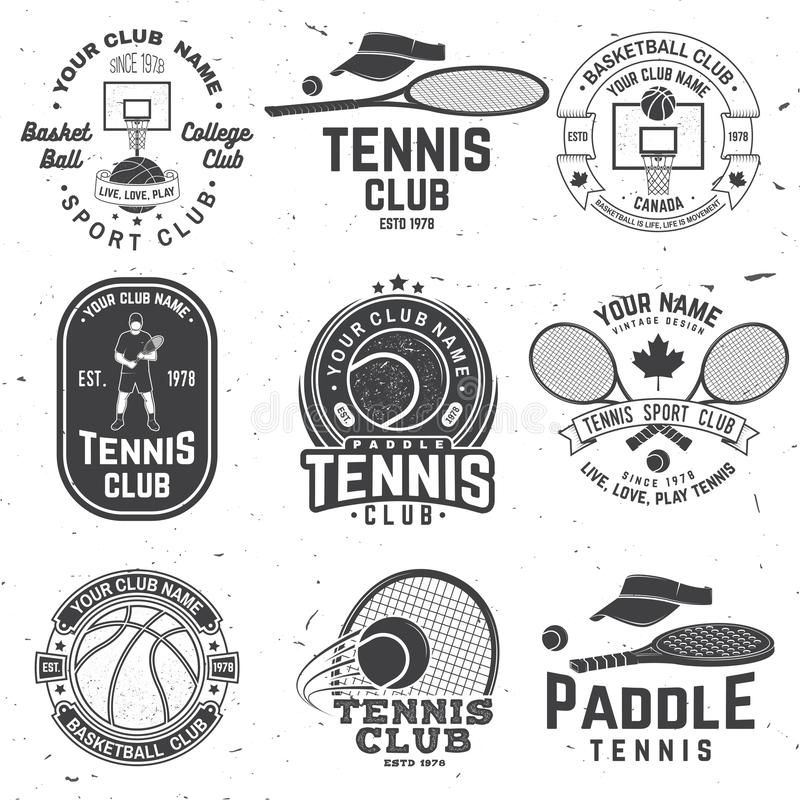 Free Set Of Basketball And Tennis Badge, Emblem Or Sign. Vector. Concept For Shirt, Print Or Tee. Vintage Typography Design Royalty Free Stock Photo - 142043645