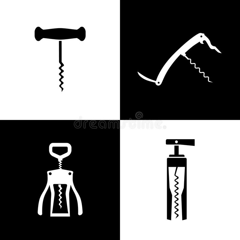 Free Set Of Black And White Corkscrews Stock Images - 36461224