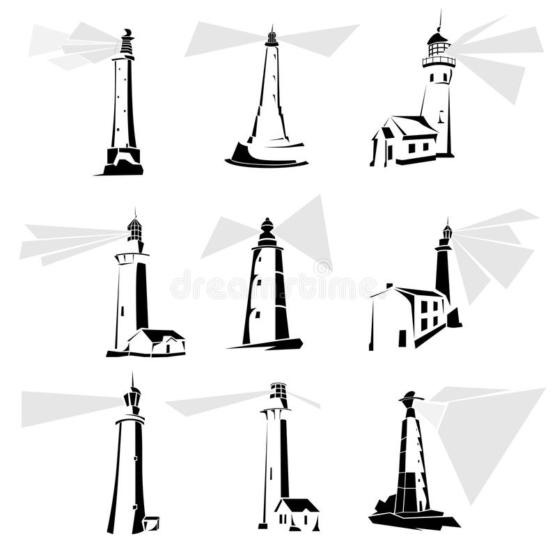 Free Set Of Black And White Lighthouse Icons. Royalty Free Stock Images - 26895019