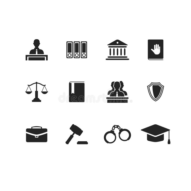 Free Set Of Black Law And Justice Icons Stock Image - 46142891