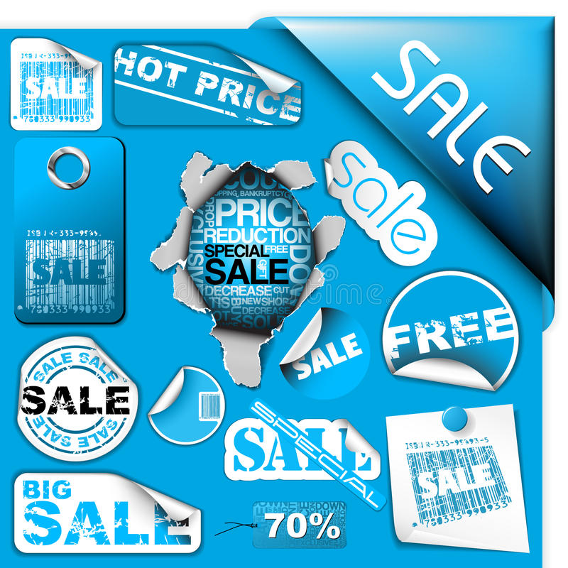 Free Set Of Blue Sale Tickets, Labels, Stamps ... Royalty Free Stock Photography - 12891587