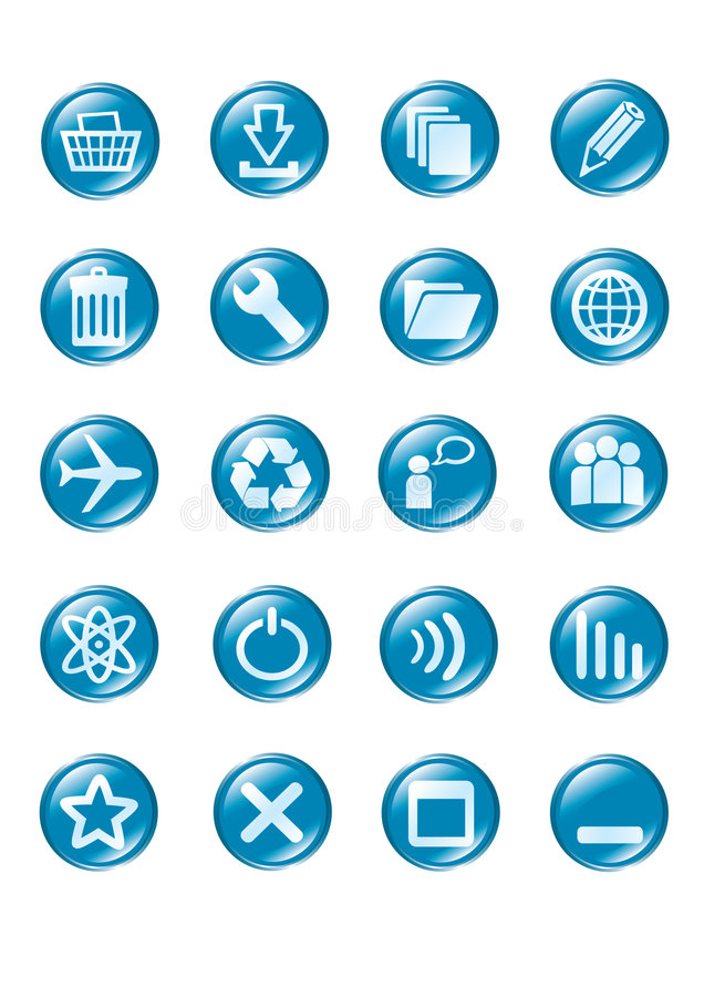 Free Set Of Blue Vector Glass Button Icons Royalty Free Stock Images - 5388509
