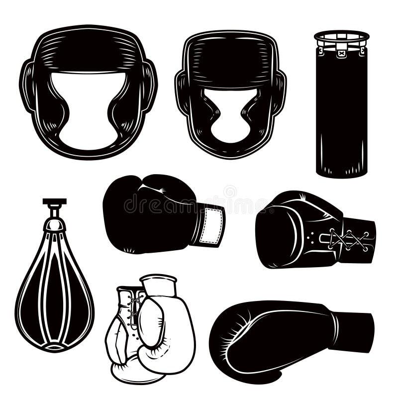 Free Set Of Boxing Design Elements. Boxer Helmet, Gloves, Bags. Design Element For Logo, Label, Emblem, Sign, Poster. Stock Image - 130048841