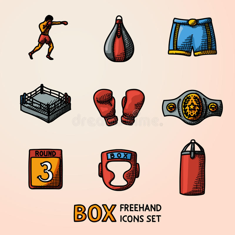 Free Set Of Boxing Hand Drawn Color Icons - Gloves, Shorts, Helmet, Round Card, Boxer, Ring, Belt, Punch Bags. Vector Royalty Free Stock Photography - 78202807
