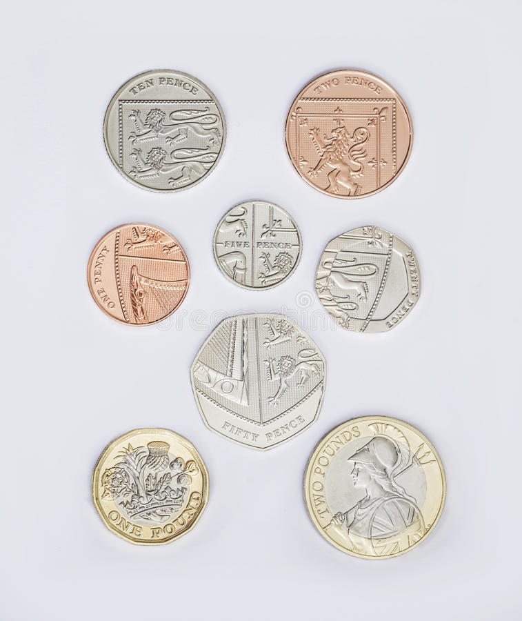 Free Set Of British Coins With The 2017 New Pound Coin Design Royalty Free Stock Photo - 86316625