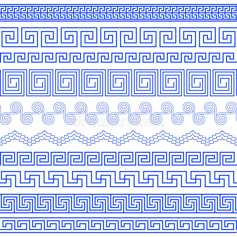 Free Set Of Brushes To Create Greek Meander Patterns Stock Image - 73803521