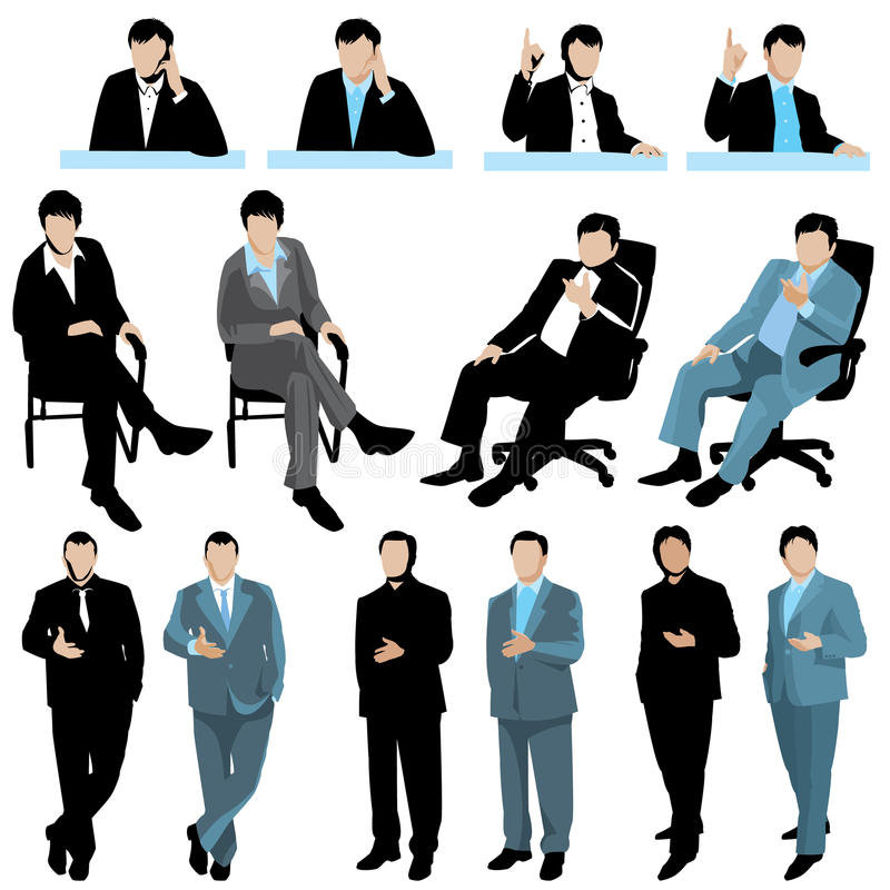 Free Set Of Business People Silhouettes, Isolated On White Background Stock Photos - 82543373