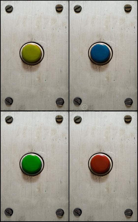 Free Set Of Buttons On Aluminium Plate Royalty Free Stock Photos - 9657758