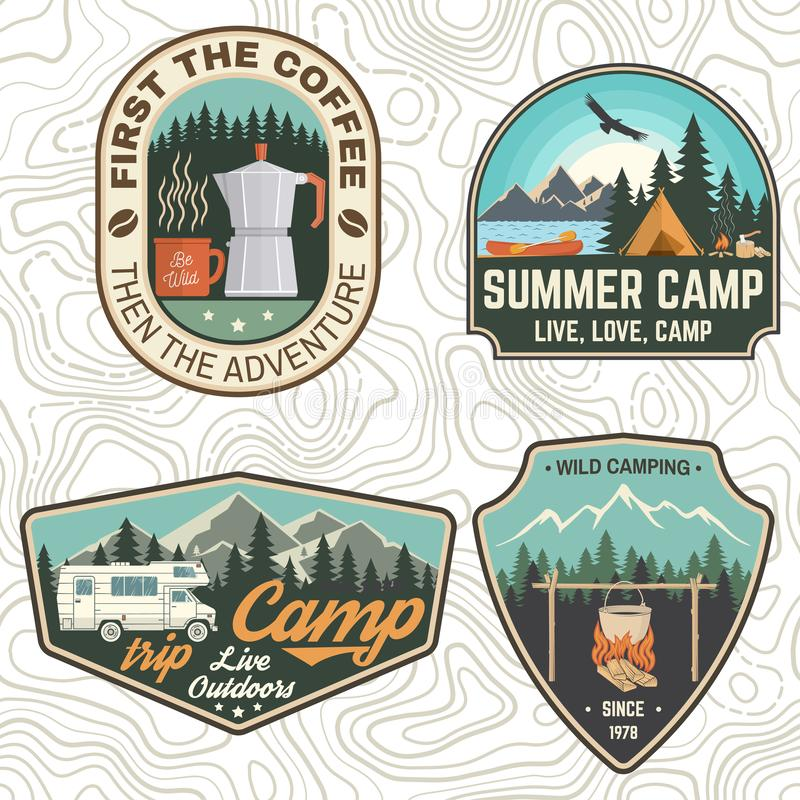 Free Set Of Camping And Caravanning Club Badges. Concept For Shirt Or Logo, Print, Stamp, Patch Or Tee. Vintage Typography Royalty Free Stock Photos - 154262628
