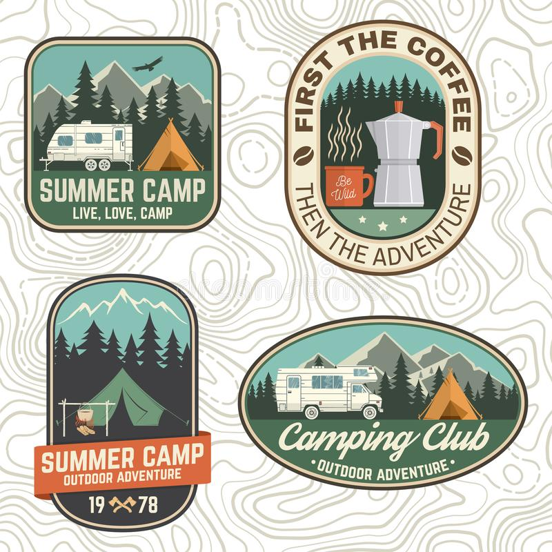 Free Set Of Camping And Caravanning Club Badges. Vector. Concept For Logo, Print, Stamp, Patch Or Tee. Vintage Typography Stock Photo - 154262740