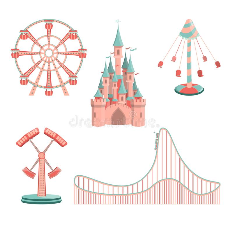 Free Set Of Cartoon Amusement Park Rides Icons Stock Photo - 129523470