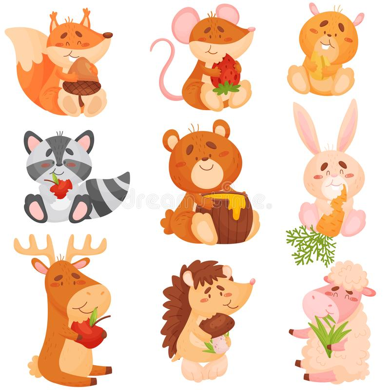 Free Set Of Cartoon Animals Eating Different Fruits. Vector Illustration On White Background. Stock Photo - 155703150
