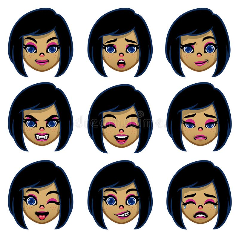 Free Set Of Cartoon Girl Head With Various Face Expression Stock Images - 204265624