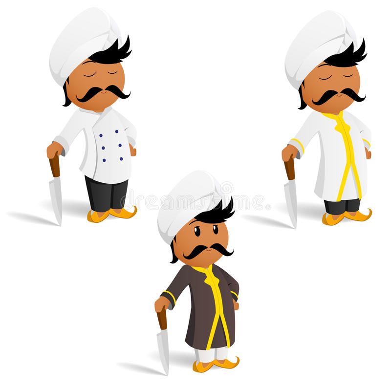 Free Set Of Cartoon Indian Cook Chef With Moustache Stock Photography - 19301162