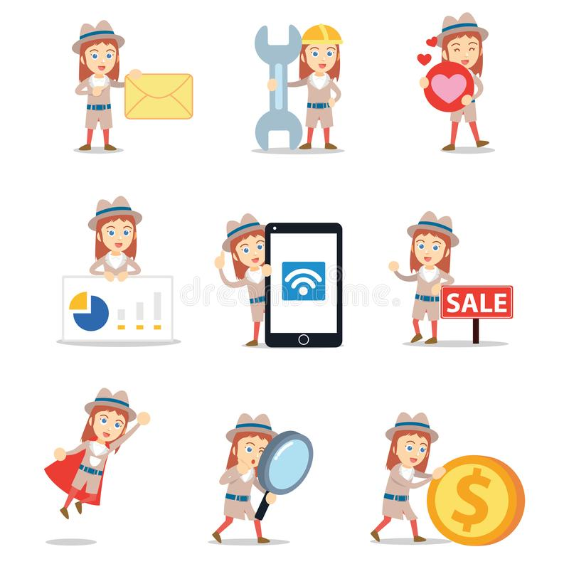 Free Set Of Character Woman A Detective Profession Royalty Free Stock Photos - 166546978
