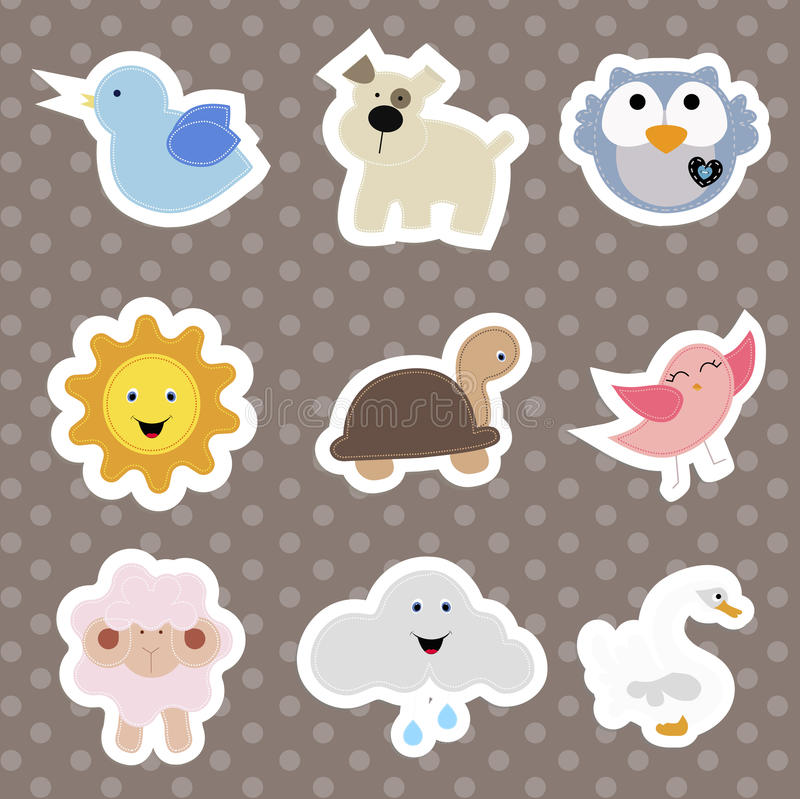 Free Set Of Children`s Stickers Of Cute Animals In Cartoon Style. Stock Photo - 84479170