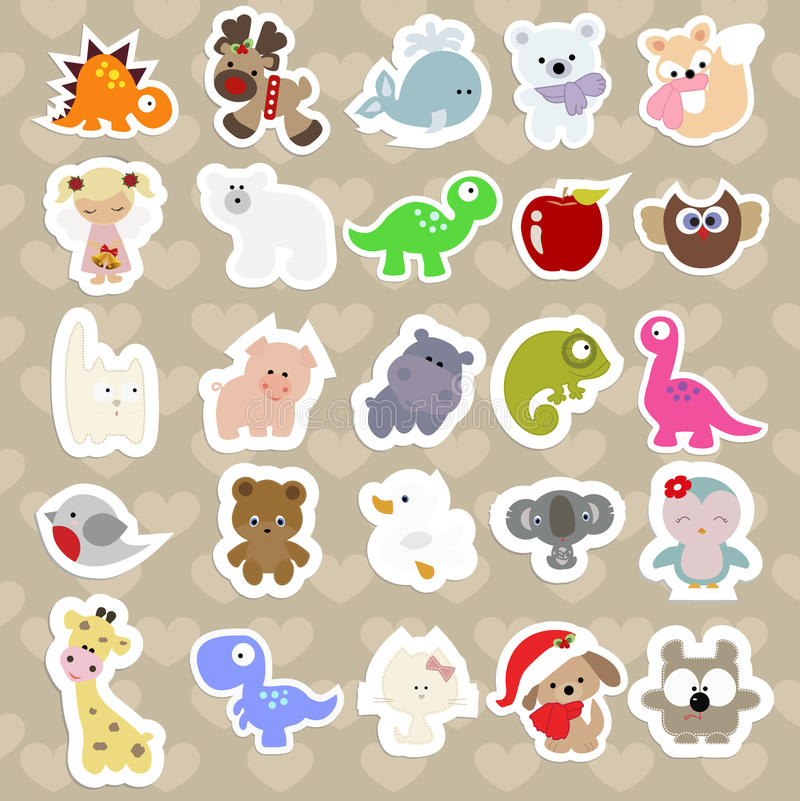 Free Set Of Children`s Stickers Of Cute Animals In Cartoon Style. Stock Image - 84480851