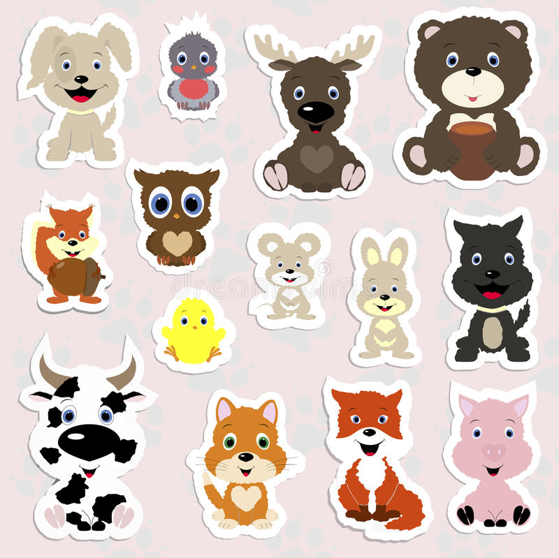Free Set Of Children`s Stickers Of Cute Animals In Cartoon Style. Stock Photo - 84491720