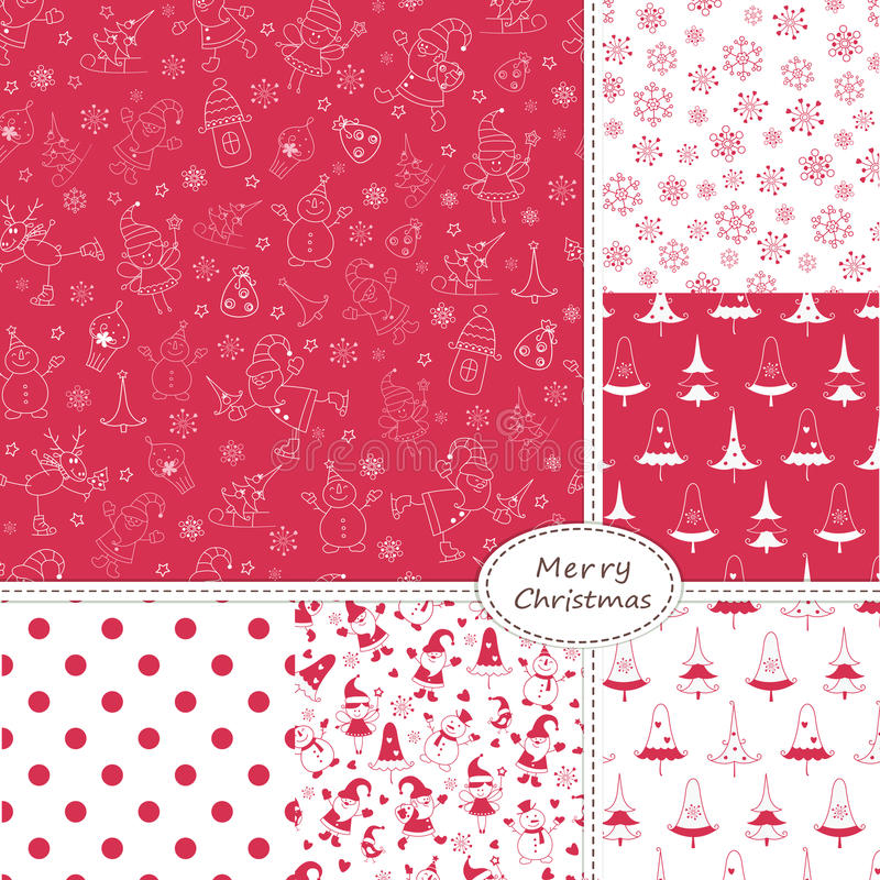 Free Set Of Christmas Seamless Patterns Stock Images - 42879884