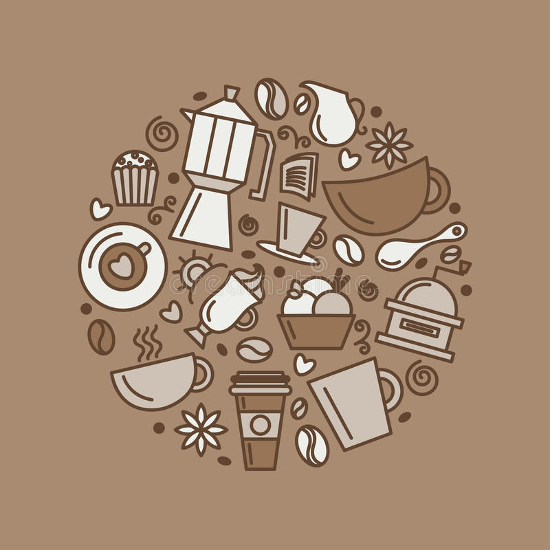Free Set Of Coffee Theme. Line Art Draw Icons In The Circle. Royalty Free Stock Images - 93053829