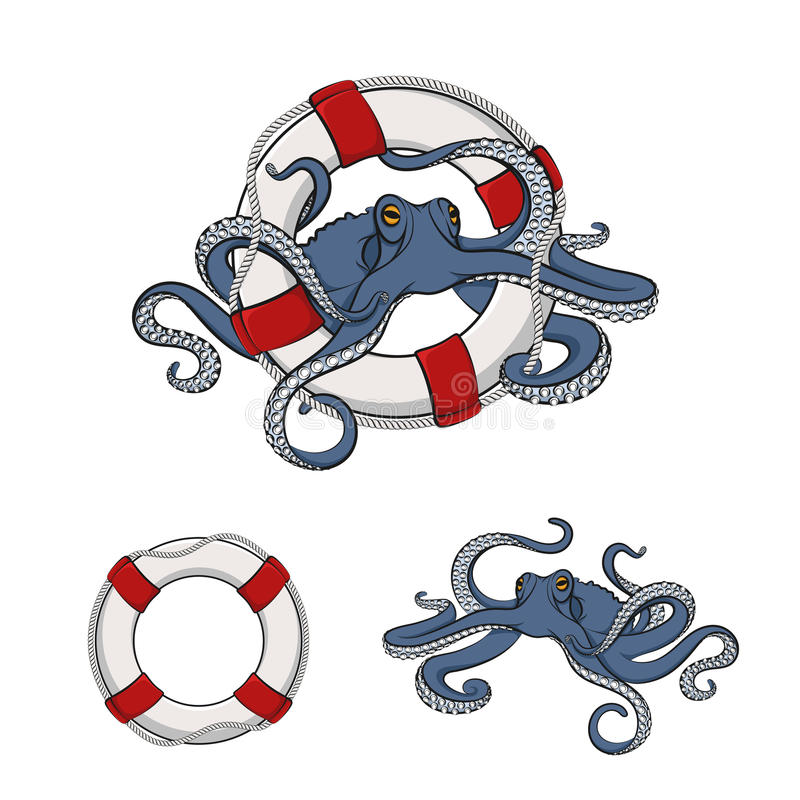 Free Set Of Color Images Of Octopus In The Lifeline. EPS10 Stock Photos - 76512423