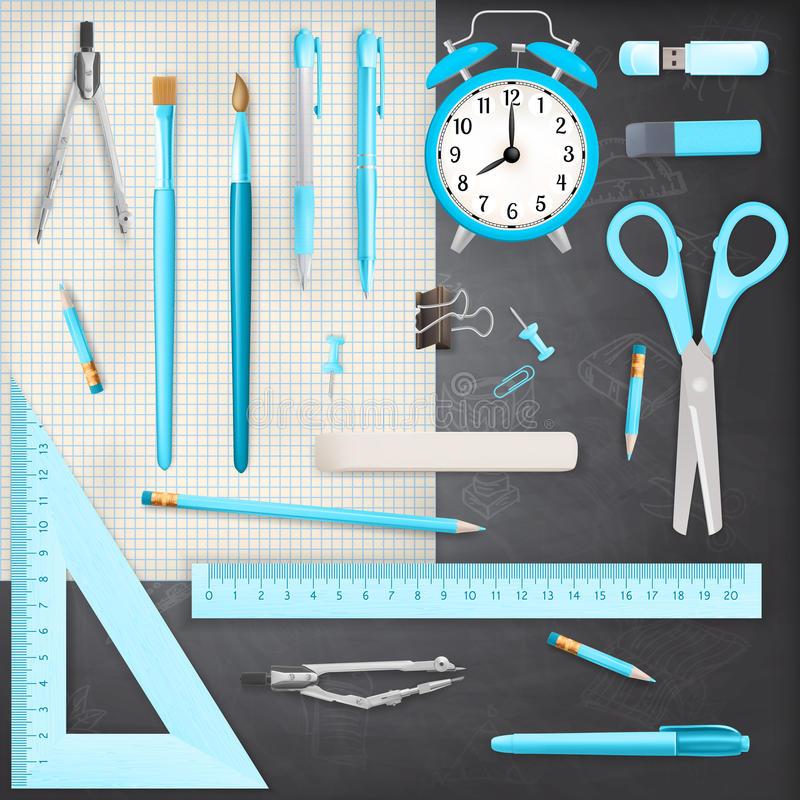 Free Set Of Colored School Supplies Background. EPS 10 Stock Image - 44054101