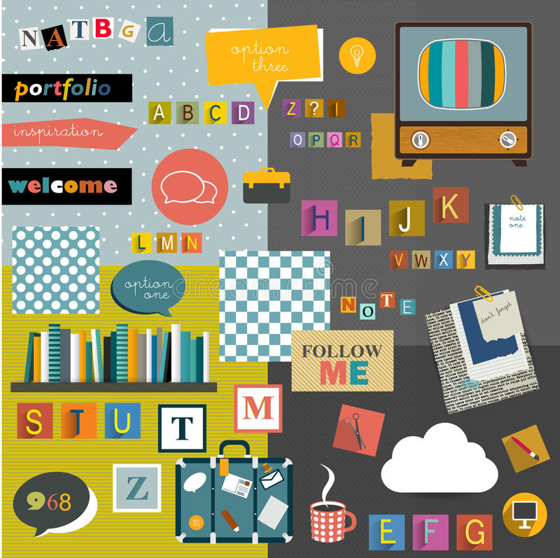 Free Set Of Colorful Collage. Royalty Free Stock Image - 42443746