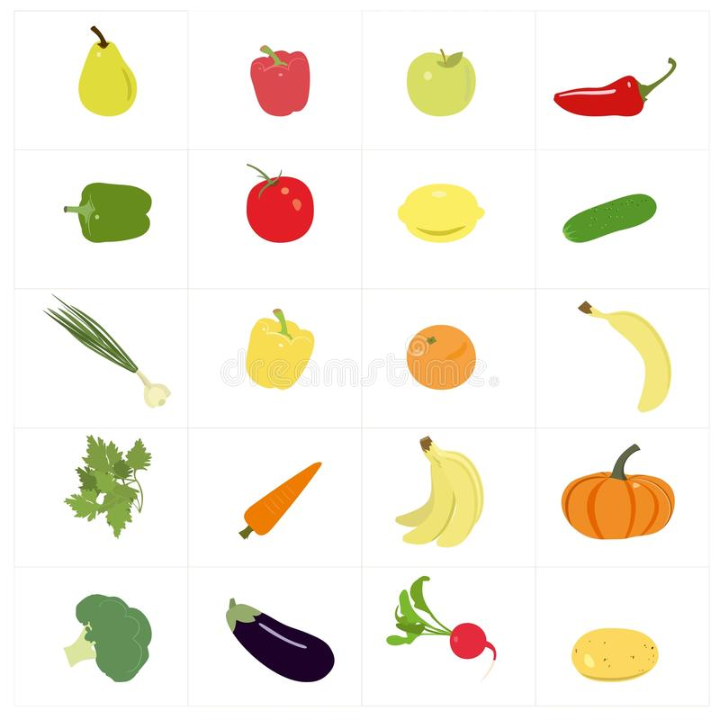 Free Set Of Colorful Fruits And Vegetables. Royalty Free Stock Images - 59454149