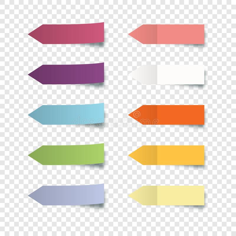 Free Set Of Colorful Stickers. Collection Oblong Colorful Arrow Shaped Sticker With Peeling Off Edge Realistic Style For Labeling Infor Royalty Free Stock Images - 159223419