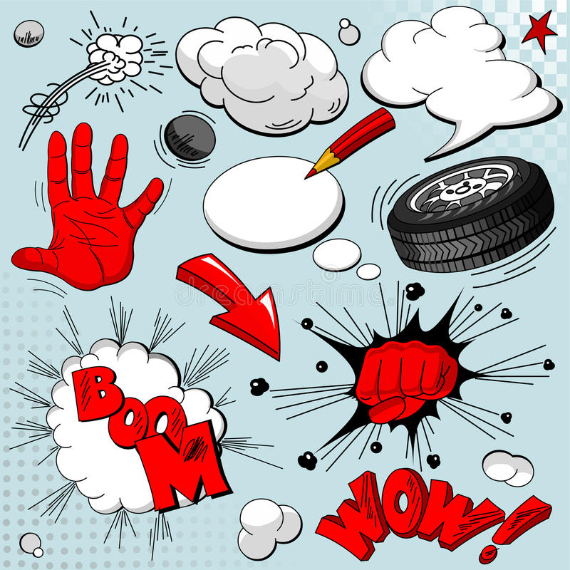 Free Set Of Comic Book Explosions Stock Photo - 17992120