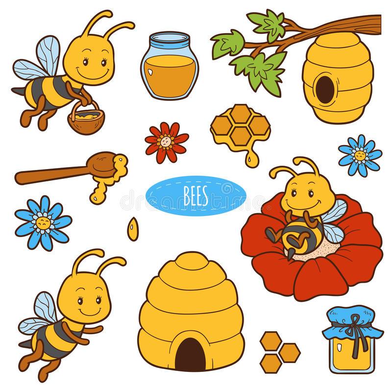Free Set Of Cute Animals And Objects, Vector Family Of Bees Stock Image - 75248801
