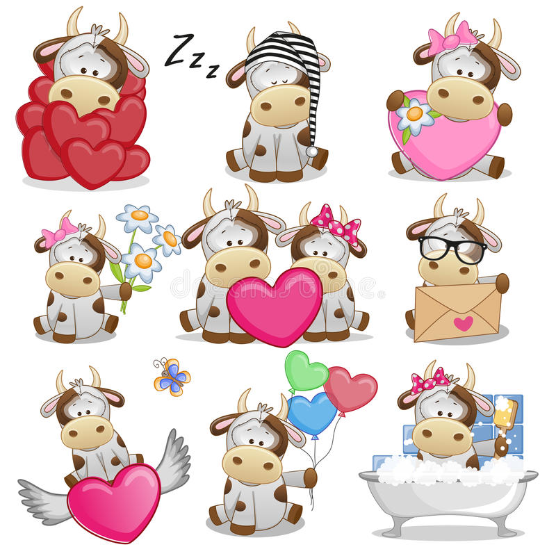 Free Set Of Cute Cartoon Cow Stock Images - 90293434