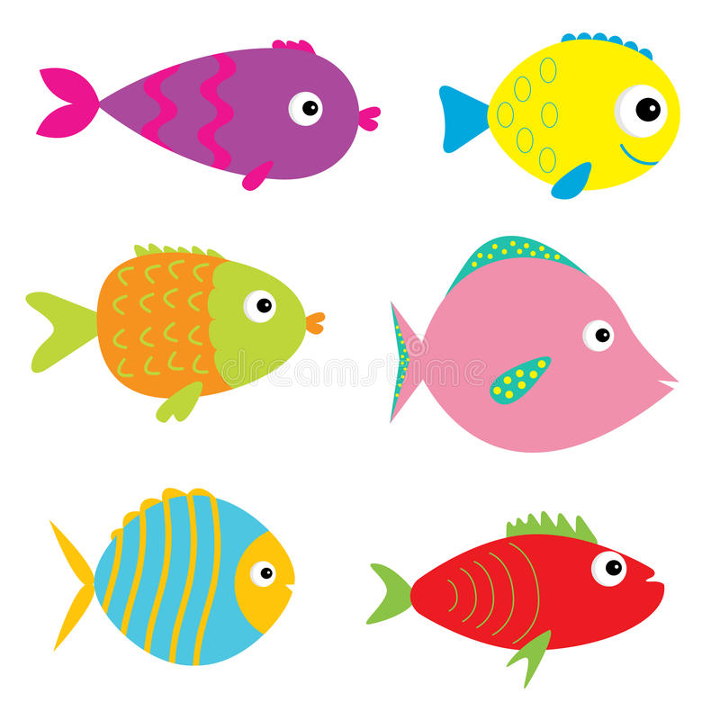 Free Set Of Cute Cartoon Fishes. Isolated. Royalty Free Stock Photos - 40319138